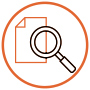 magnifying glass logo on document